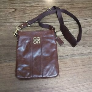Coach Brown Leather Crossbody Side Bag 9X8in